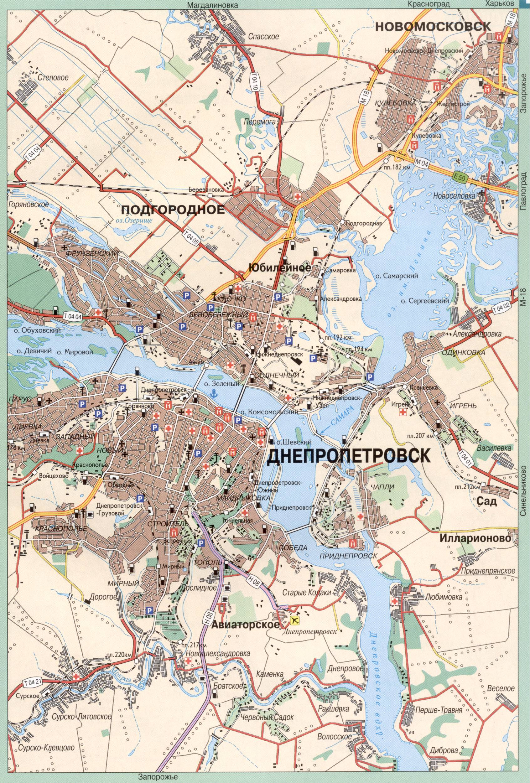 Карта схема проезда города Днепропетровск (бывший Екатеринослав) с пригородами.  Скачать бесплатно подробную карту.