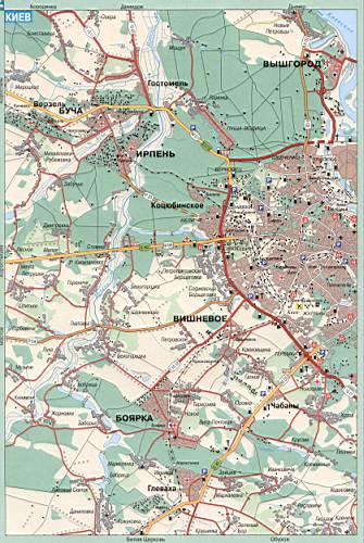 Карта Киева и окрестностей.