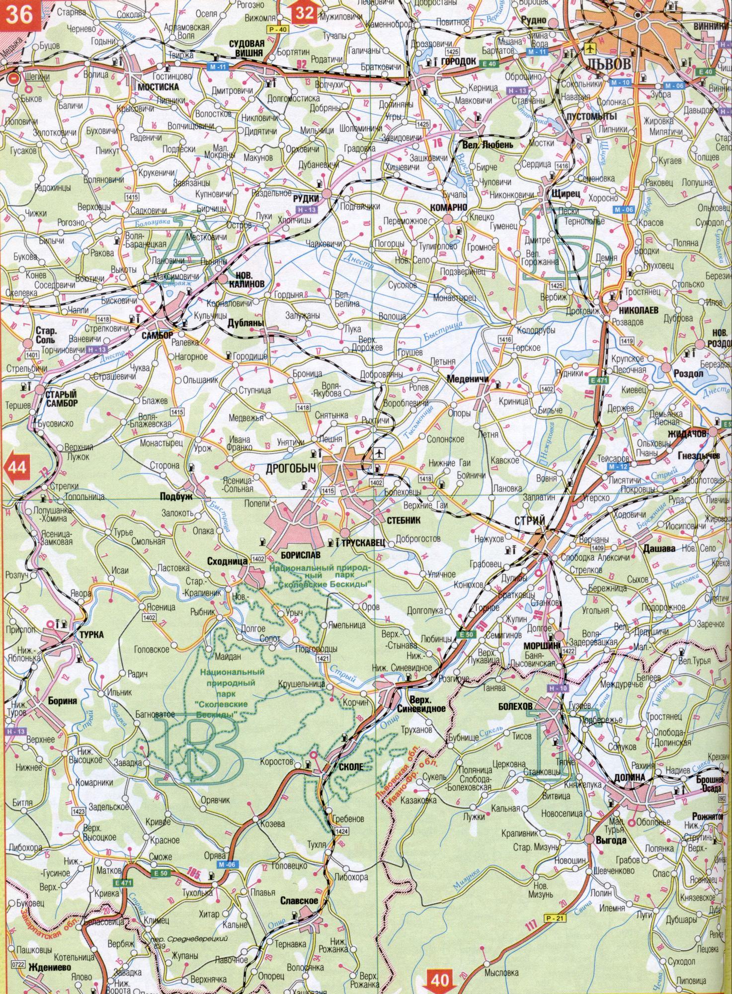 Украины крупномасштабная карта дорог