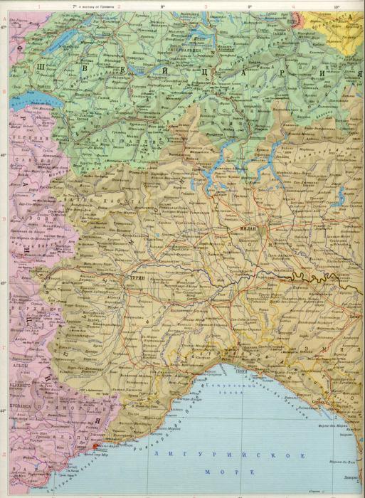 Карта северной италии 1см 15км