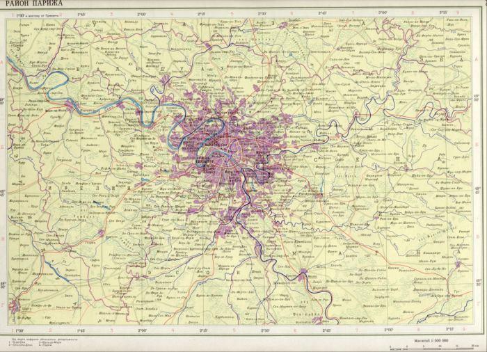 Карта франции район парижа 1см 5км