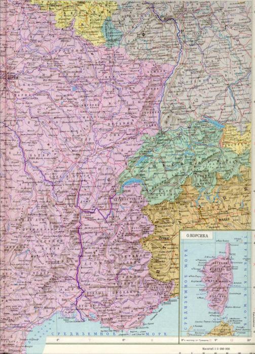 Карта франции 1см 30км