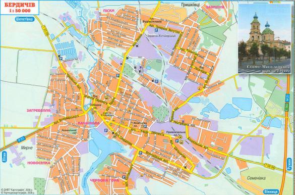 Карта Бердичева; карта-схема