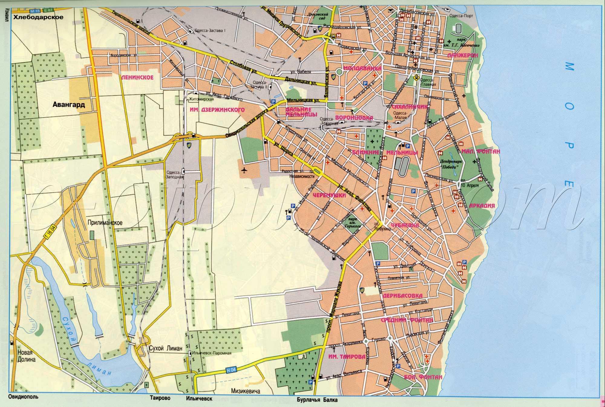 Подробная карта улиц города Одесса.  Большая крупномасштабная карта Одессы.  Скачать бесплатно карту.
