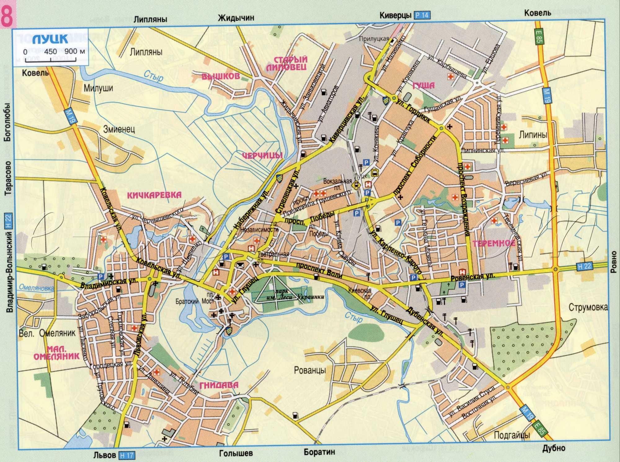 Карта луцка автомобильная схема